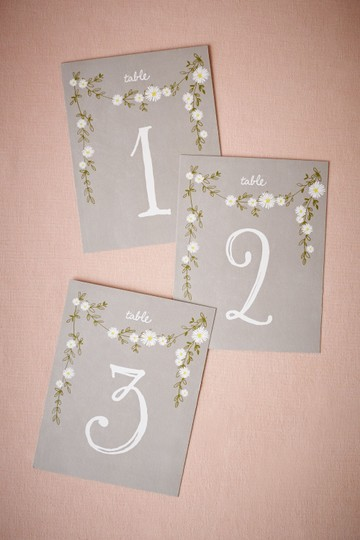 BHLDN Gray Cream Aster Table Number Cards 1-15 Reception Decoration Image 2
