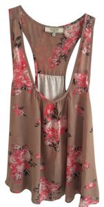 Guess Tank Going Out Chiffon Top Brown Floral