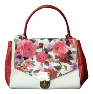 Badgley Mischka Leather Goldtone Hardware Satchel in Red & White