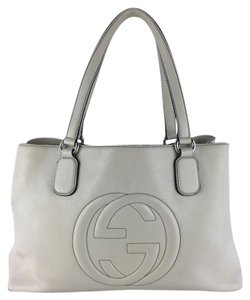 Gucci Leather Tote in Off White