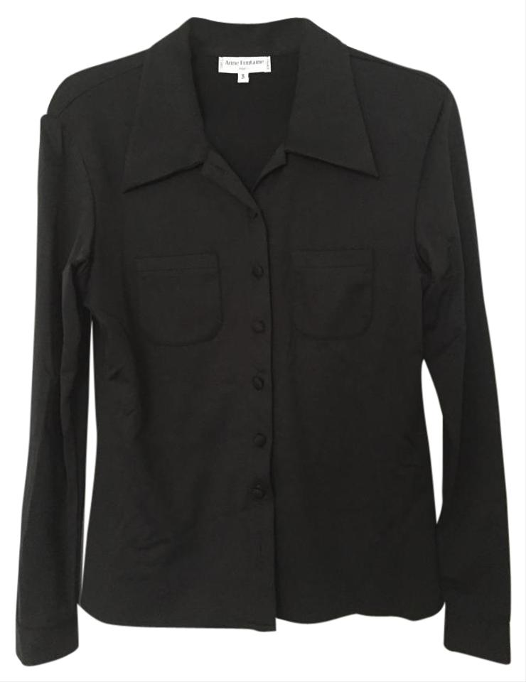 Anne fontaine black oxford style button down shirt 60 for Black oxford button down shirt