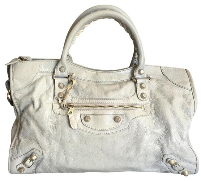 Item - Classic City Silver Grey Leather Satchel