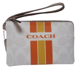 Coach Purse Coin Purse Wristlet in White Multi