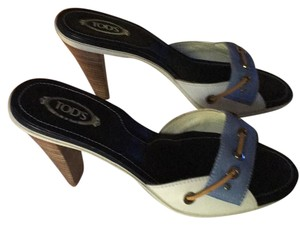 Tod's Light blue,white, brown lace Sandals