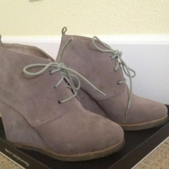 Shoemint Tomboy Chic Casual Statement Suede Lace-up Wedge Taupe Boots