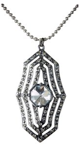 Jessica Simpson Jessica Simpson Glam Statement Hematite Plated Pave Crystal Jewel Necklace