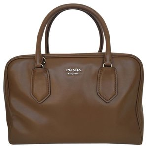 Prada Doctor Bowling Brown Satchel in Cannella Turche