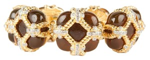 Valentino Amber Stone and Gold Bracelet with Crystal Detailing