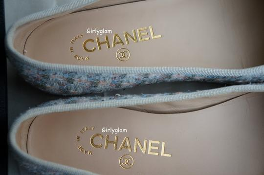 Chanel Multi Color Pearly Beige Ivory Tweed Flats
