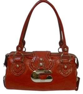 Guess Saddlebag Studded Mirrored Tote in red
