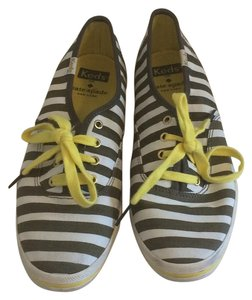Kate Spade Canvas Peppy Classic Sneaker Grey and Yellow Stripe Athletic