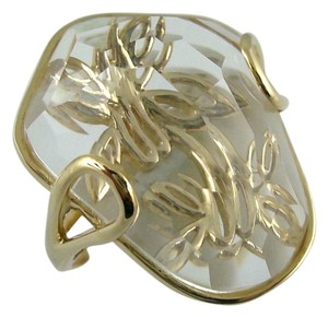 Other 14K Gold Organic Shape Crystal Quartz Butterfly Motif Ring - Size 6