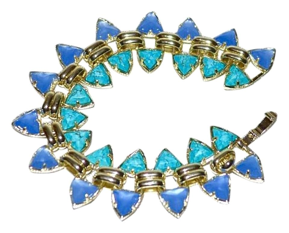 Kendra Scott New Robby Link Bracelet Oasis Gold Turquoise Periwinkle