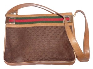 Gucci Gold Hardware Red/green Striped Bold Gold Gg Top Small Brown G Logo Shoulder Bag