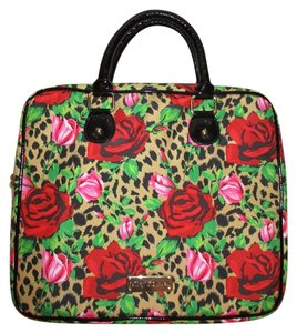 Betsey Johnson Roses Animal Print Laptop Bag