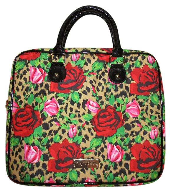 Item - Padded Red Pin Black Tan & Green Polyester with Pvc Trim Laptop Bag