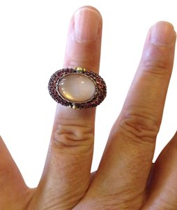 Barbara Bixby size 5, sterling silver, 18k, Mother of Pearl, Tourmaline Ring