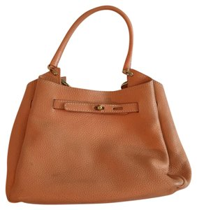 Unisa Peach Top Handle Leather Satchel in Apricot