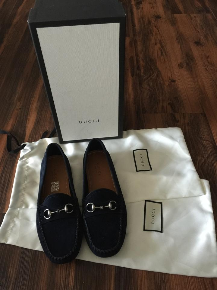 78323059a3f Gucci Navy Blue Horsebit Suede Driving Road Loafers 37 Flats Size US ...