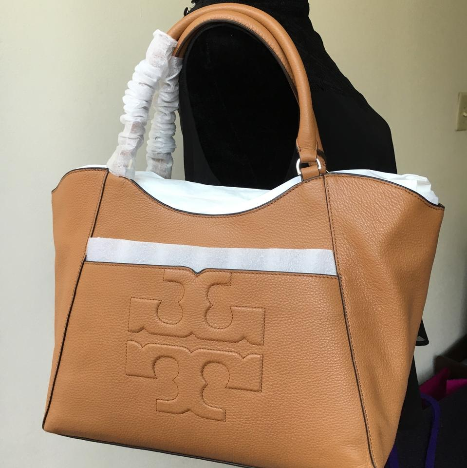 55c05496a753 Tory Burch Bombe T East West Bark Leather Tote - Tradesy