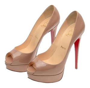 Christian Louboutin Leather Platform Nude Pumps