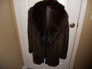 Macy's Mink Shawl Collar Fur Coat
