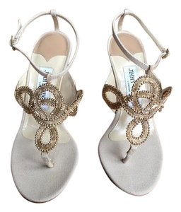 Jimmy Choo Gold Studded Canvas Natural Nude Sandals