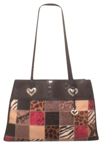 Brighton Leather Patchwork Travel/weekend Tote in Black Red White Brown Tan Gray Multi