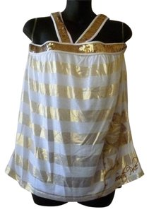 South Pole Collection Sequined Rose Striped Top white gold
