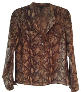 H&M Button Down Shirt Brown, Animal print