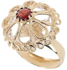Other 14K Yellow Gold 15.50 ct tw Clear Quartz and Garnet Rope Ring - Size 6