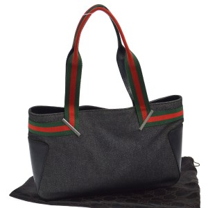 Gucci Mint Vintage Great For Everyday Perfect Size Red/Green Chrome Hardware Tote in black leather & black denim w/ red/green accents