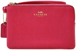 Coach Leather Wristlet in Pink Ruby