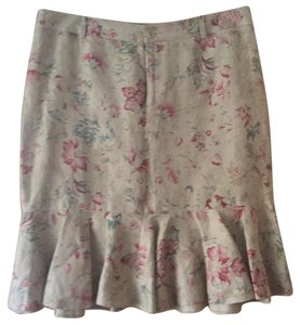 Ralph Lauren Black Label Skirt Beige with flowers pattern