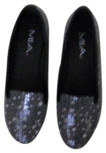Mia Shoes Sparkle Sequin Silver Flats