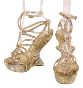 Alexander McQueen Collection Oyster Shell Wedge Gold Sandals