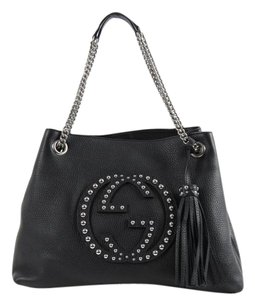8bf17bcd2b2ad7 Gucci Soho Medium Studded Leather Chain Shoulder Black Tote - Tradesy