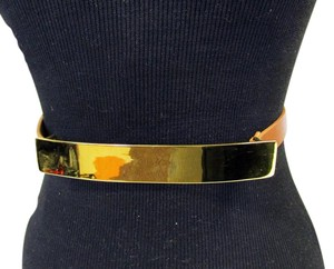 St. John NEW ST. JOHN WAIST BELT BROWN LEATHER SINGLE GOLD METAL BUCKLE LARGE