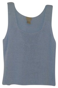 Sigrid Olsen Linen Blend Sweater Knit Top Light Blue
