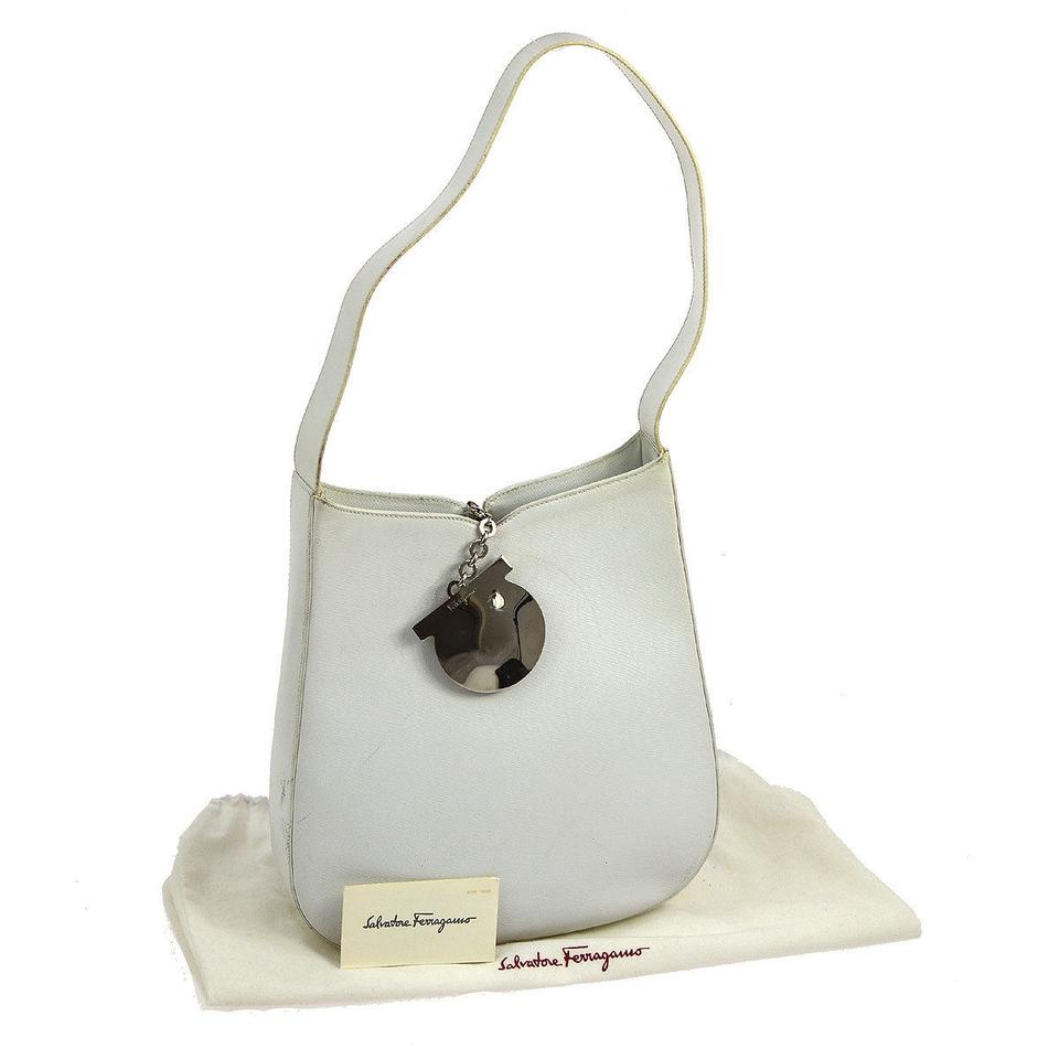 a411160283dc Salvatore Ferragamo Mint Vintage Perfect European Chic Bold Chrome Gancini  Unusual Closure Shoulder Bag Image 0 ...
