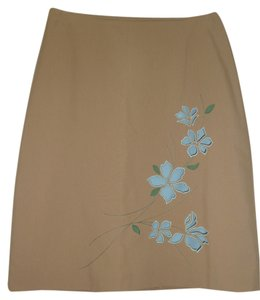 Ann Taylor Loft Vintage Embroidered Skirt Beige with turquoise