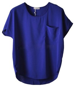 Shirt Chiffon Top Blue
