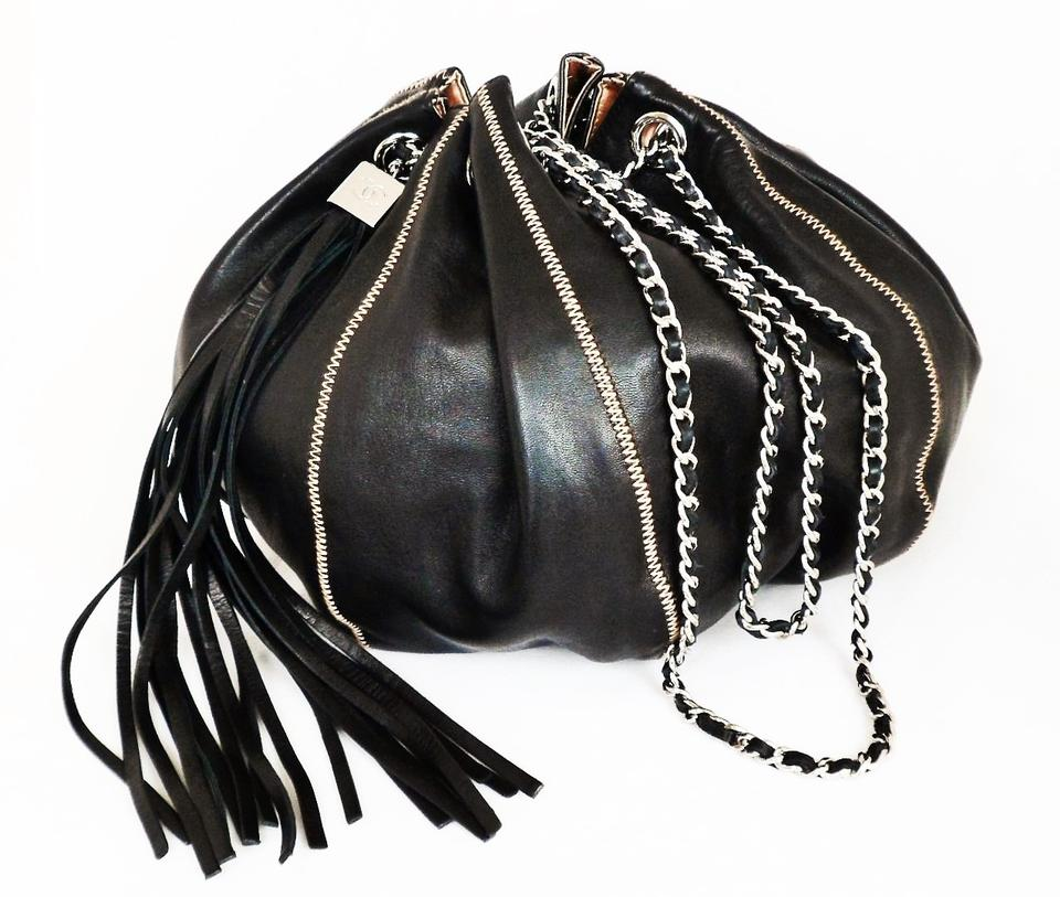 addd5d06f386 Chanel Bucket Reversible Tassel Black & Peach Leather Satin Shoulder ...