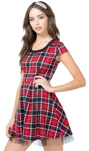 short dress Plaid Flare Tulle Cap Sleeves on Tradesy