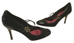Kate Spade Capped Toe Black patent and suede all leather Pumps