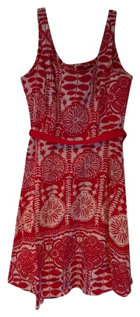 Item - White and Red A-line Belted Knee Length Short Casual Dress Size 14 (L)