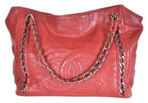 Chanel Luxe Lign Gunmetal Hardware Tote in Red