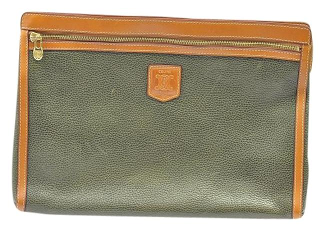 Item - Briefcase Cluthc Green Leather Laptop Bag