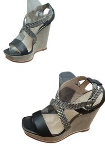 Kenneth Cole Leather Wedge Suede Black/Tan Sandals