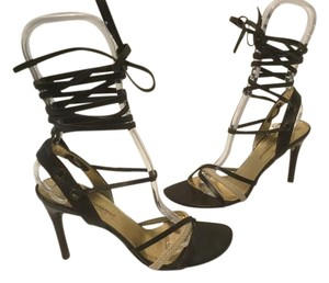 Dolce&Gabbana Long Strappy Italian Brown all leather leg ties E35.5 Sandals